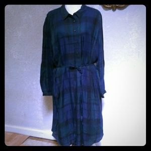 NWT Loft Plus Navy Blue Green Plaid Shirt Dress 24
